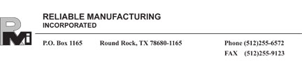 reliable manufacturing inc header